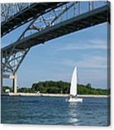 Blue Water Bridge Sail Canvas Print