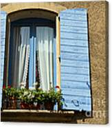Blue Window And Shutters Canvas Print