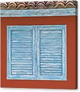 Blue Window Shutter Of Aruba Canvas Print