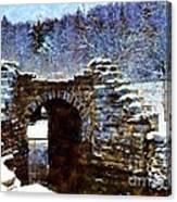 Blue Winter Stone Bridge Canvas Print