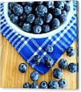 Blueberries And Blue Napkin Canvas Print
