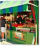 Blueberries Strawberry Jam Baskets Ferme Racine Petits Fruits Jean Talon Market Scene Carole Spandau Canvas Print
