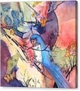 Bluebird And Butterflies Canvas Print