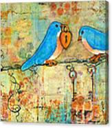 Bluebird Painting - Art Key To My Heart Canvas Print