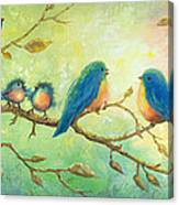 Bluebirds On Branches Canvas Print