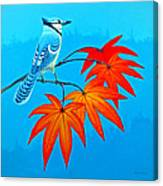 Bluejay In The Fall 2 Canvas Print