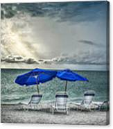 Blueumbrellassanibelisland Canvas Print
