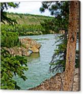 Bluff Over The River In Five Finger Rapids Recreation Site Along Klondike Hwy-yt  Canvas Print