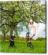 Bmx Flatland Bride Jumps In Spring Meadow Canvas Print