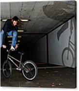 Bmx Flatland Monika Hinz Doing Awesome Trick With Her Bike Canvas Print