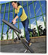 Bmx Flatland - Monika Hinz Riding On Rear Wheel Canvas Print