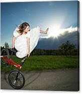 Bmx Flatland Rider Monika Hinz Jumps In Wedding Dress Canvas Print
