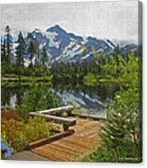 Board Walk- Lake- Fir Trees And Mount Baker Canvas Print