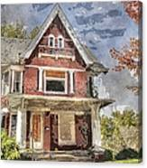 Boarded Up Old Characer Home Watercolor Canvas Print