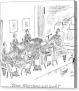 Boardroom With Boss Speaking At Piano Shaped Canvas Print