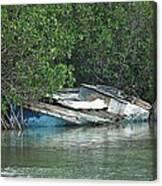 Boat Abandoned In The Mangroves Long Island Bahamas Canvas Print