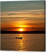 Boat At Sunset Canvas Print