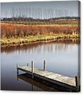 Boat Dock On A Pond In South West Michigan Canvas Print