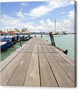 Boat Dock On Jetty In Penang Canvas Print