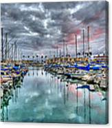 Boat Harbor Stormy Sunset In Oceanside California Canvas Print