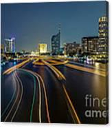 Boat Light Trails On Bangkok Chao Phraya River Canvas Print