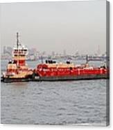 Boat Meet Barge Canvas Print