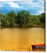 Boat On A Golden Pond Canvas Print