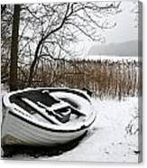 Boat On Iced  Lake In Denmark In Winter Canvas Print