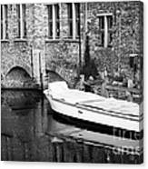 Boat Reflection In Bruges Canvas Print