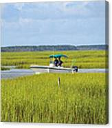Boat Ride In The Marsh Canvas Print