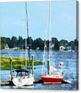 Boat - Two Docked Sailboats Norwalk Ct Canvas Print