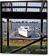Boat View Under The Stairway Canvas Print