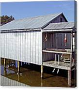Boathouse At Low Tide Canvas Print