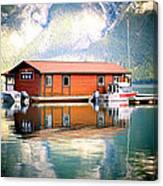 Boathouse Lake Minnewanka Ab Canada Canvas Print