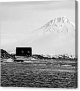boathouse on goudier island port lockroy with doumer island hill Antarctica Canvas Print