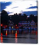 Boathouse Row Along The Schuylkill River At Dawn Canvas Print