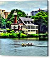 Boathouse Rowers On The Row Canvas Print