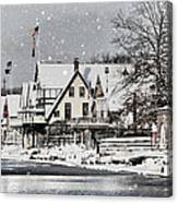 Boathouse Snow Canvas Print