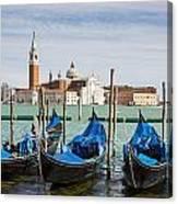 Boats Anchored At Marina Venice, Italy Canvas Print