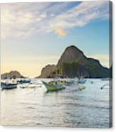 Boats Anchored In Bacuit Bay And Cadlao Canvas Print