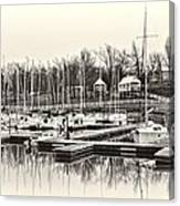 Boats And Cottages In B/w Canvas Print