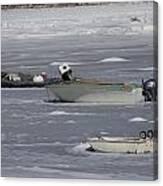 Boats And Ice Hobart Beach Ny Canvas Print