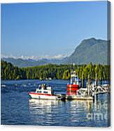 Boats At Dock In Tofino Canvas Print