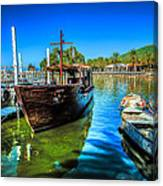 Boats At Kibbutz On Sea Galilee Canvas Print