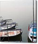 Boats At Sangam Canvas Print