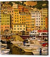 Boats At The Harbor, Camogli, Liguria Canvas Print