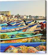 Boats Being Readied For Fishing Canvas Print