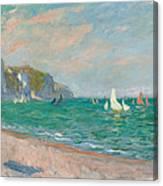 Boats Below the Pourville Cliffs Canvas Print
