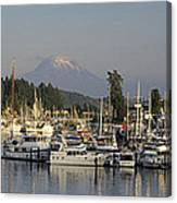 Boats Docked At A Harbor With Mountain Canvas Print