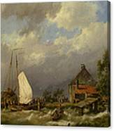 Boats Docking In An Estuary Canvas Print